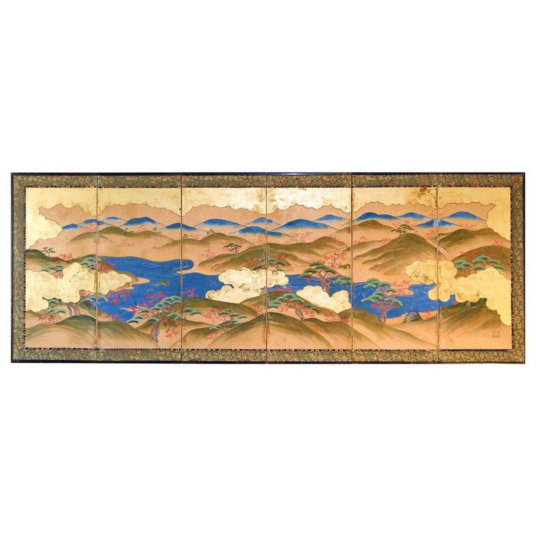 Japanese Landscape of the 19th Century, Small Six Folding Screen Kano School For Sale