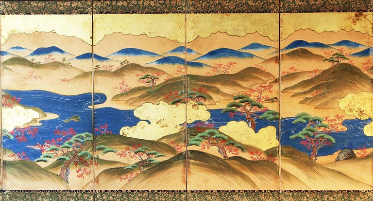 Edo Period, six panels Japanese folding screen hand painted inks and mineral pigment on vegetable paper and gold leaf.