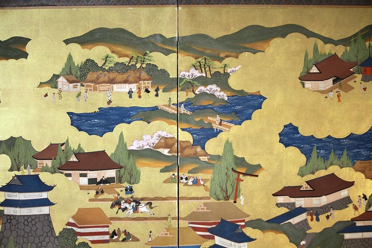 Landscape of the ancient city of Kyoto, a beautiful size six-panel screen painted with mineral pigments on rice paper and gold leaf.
