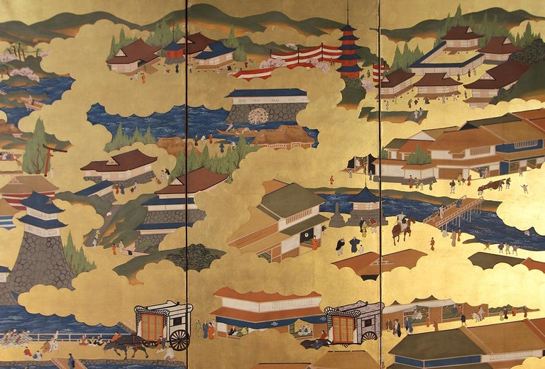 Showa Japanese Landscape of Kyoto - Six Panel Folding Screen Hand Painted on Gold Leaf For Sale