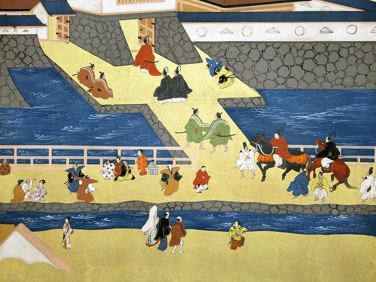 Hand-Painted Japanese Landscape of Kyoto - Six Panel Folding Screen Hand Painted on Gold Leaf For Sale