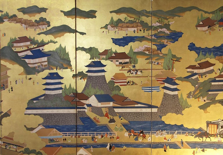 Japanese Landscape of Kyoto - Six Panel Folding Screen Hand Painted on Gold Leaf In Good Condition For Sale In Brescia, IT