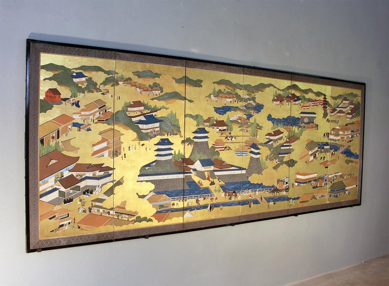 Mid-20th Century Japanese Landscape of Kyoto - Six Panel Folding Screen Hand Painted on Gold Leaf For Sale