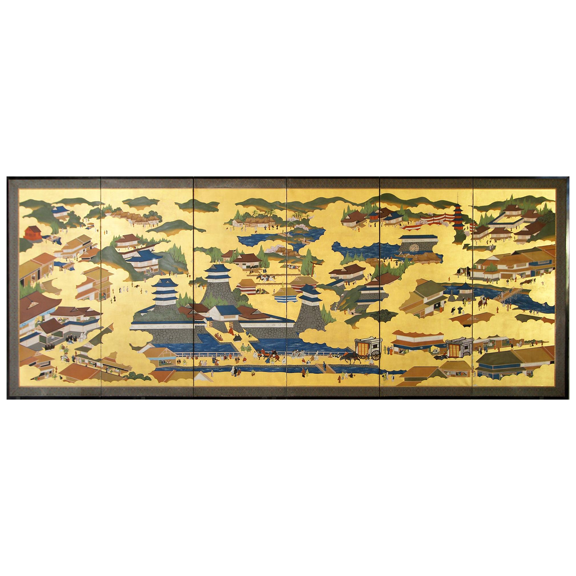 Japanese Landscape of Kyoto - Six Panel Folding Screen Hand Painted on Gold Leaf