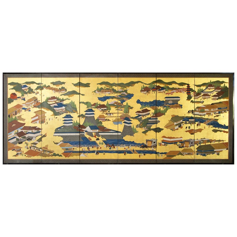 Japanese Landscape of Kyoto - Six Panel Folding Screen Hand Painted on Gold Leaf For Sale