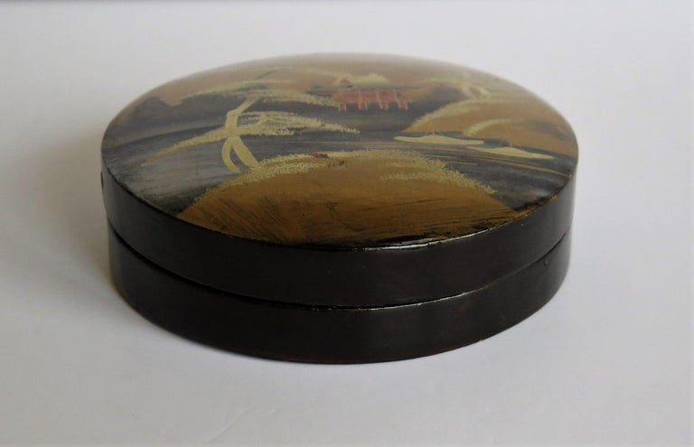 Paper Japanese Laquered Box and Lid Hand Painted Scene, Meiji Period, circa 1900 For Sale