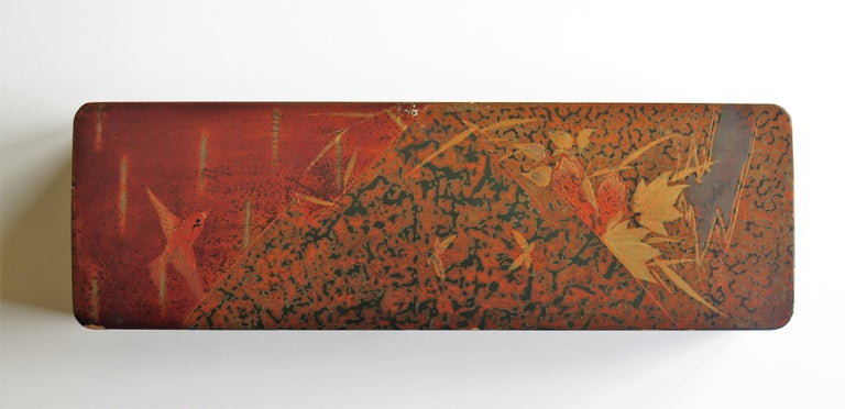 Lacquered Japanese Laquered Box with Hinged Lid and Lock, Taisho Period, circa 1920 For Sale