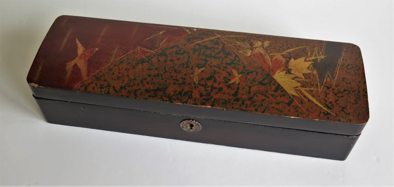 Paper Japanese Laquered Box with Hinged Lid and Lock, Taisho Period, circa 1920 For Sale