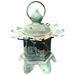 Japanese Large Antique 19th Century Lantern Handmade Lotus Leaf Authentic Temple