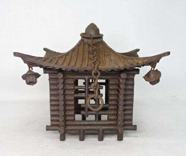 Hand-Crafted Japanese Large Antique LOG CABIN Lantern and Wind Chime, Fine Details 100 Years For Sale