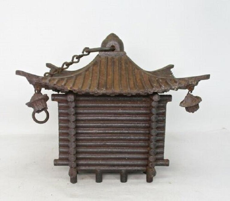 Japanese Large Antique LOG CABIN Lantern and Wind Chime, Fine Details 100 Years For Sale 6