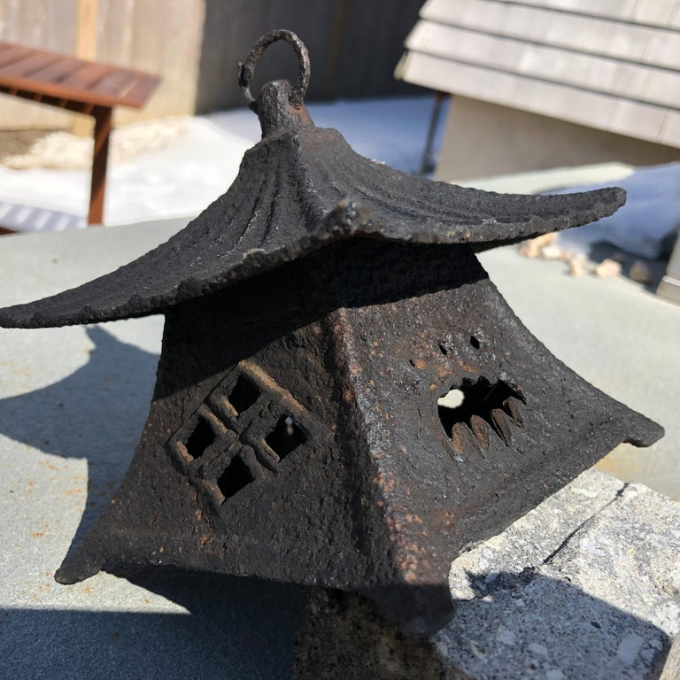 Edo Japanese Large Antique Tea House Lantern and Wind Chime, Fine Details 150 Years For Sale