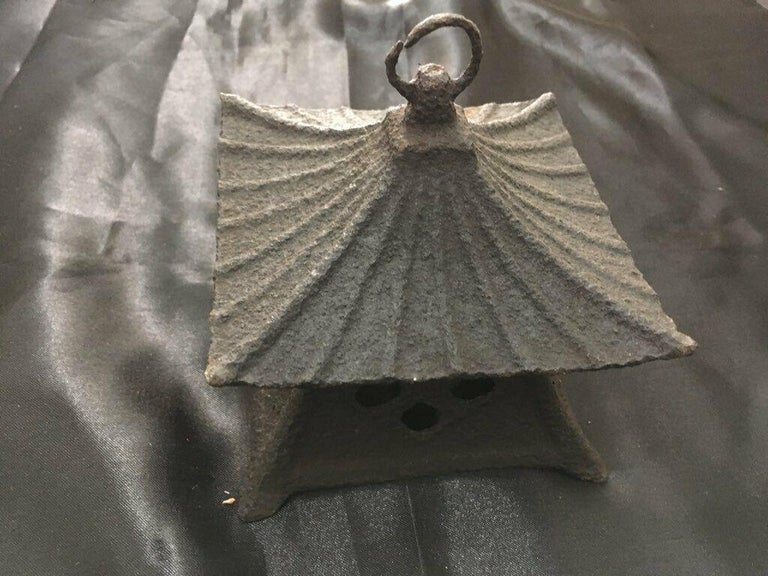 Japanese Large Antique Tea House Lantern and Wind Chime, Fine Details 150 Years In Good Condition For Sale In Shelburne, VT