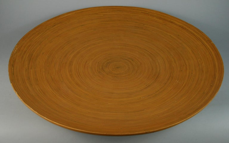 3-625 Japanese bamboo large platter on pedestal base. This platter can be hung on wall as wall sculpture/decoration.