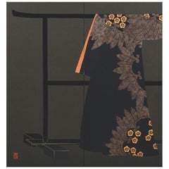 Japanese Large Contemporary Black Red Gilded Silk Two-Panel Folding Screen