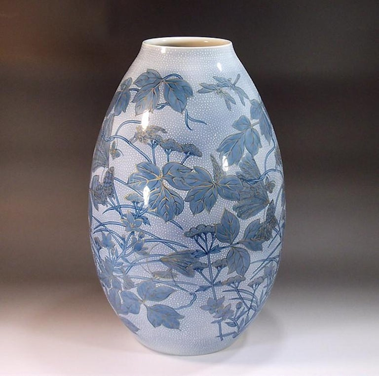 Hand-Painted Japanese Large Blue Porcelain Vase by Master Artist For Sale