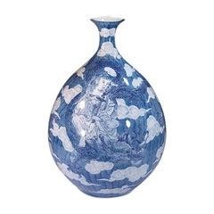 Japanese Large Contemporary Blue Porcelain Vase by Master Artist