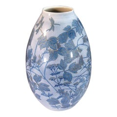 Japanese Large Blue Porcelain Vase by Master Artist
