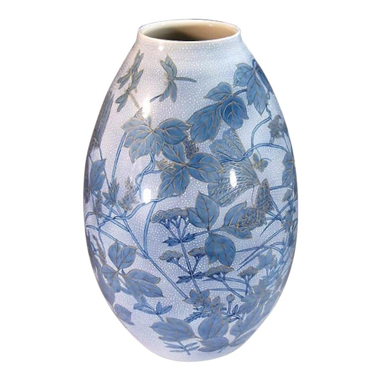 Japanese Large Blue Porcelain Vase by Master Artist For Sale