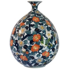 Japanese Large Contemporary Blue Red Imari Porcelain Vase by Master Artist