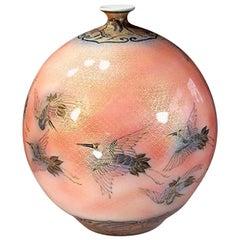 Japanese Large Contemporary Imari Gilded Ceramic Vase by Master Artist