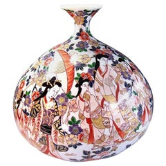 Japanese Large Gilded Imari Porcelain Vase by Contemporary Master Artist