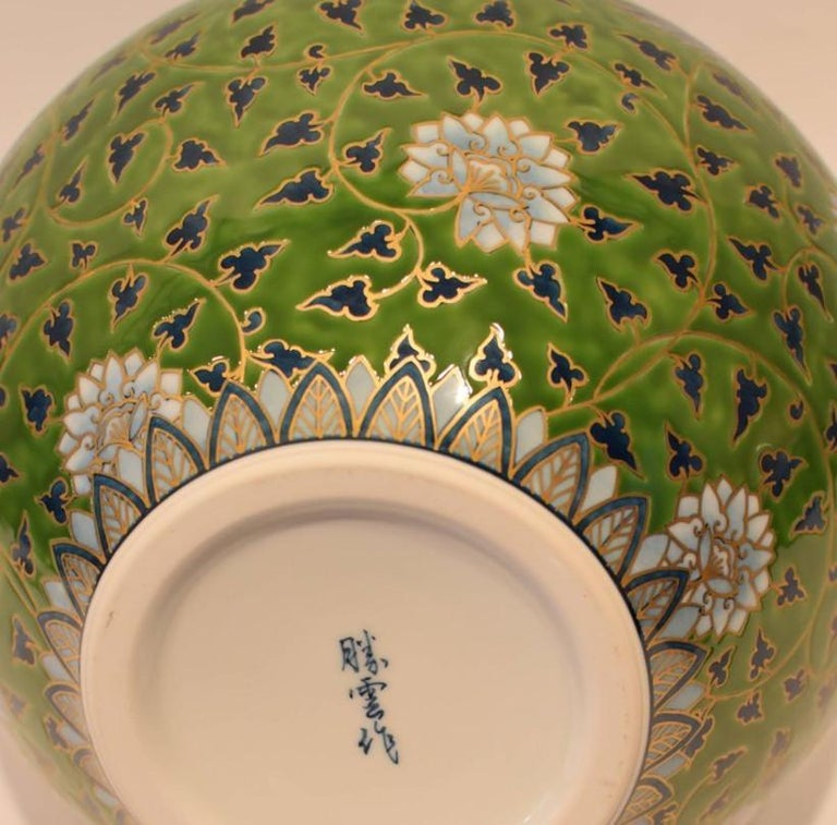 Japanese Large Green Contemporary Gilded Imari Porcelain Vase by Master Artist For Sale 4