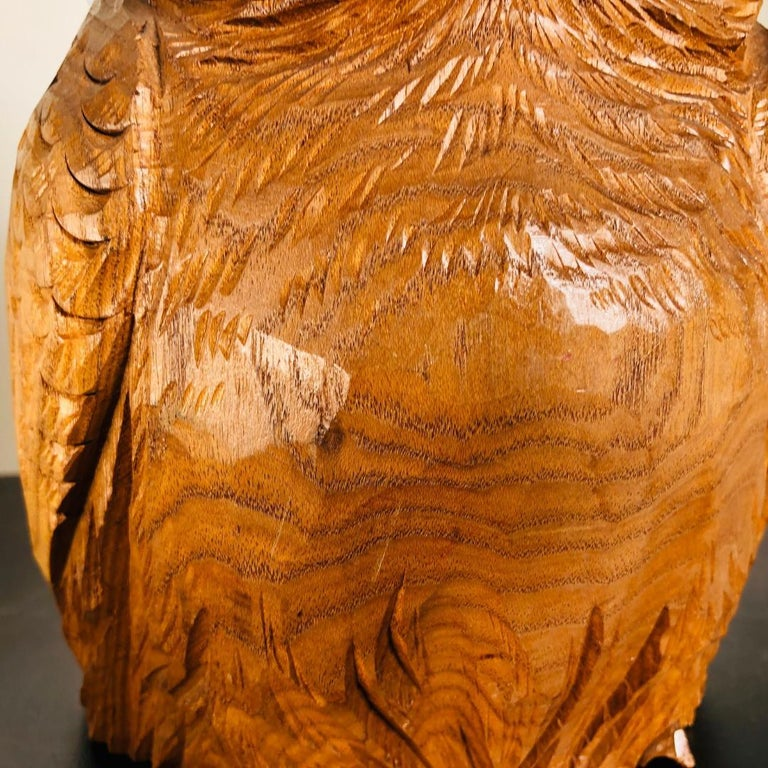 Hand-Crafted Japanese Hand Carved  Owl, Fine Mid Century Work of Art