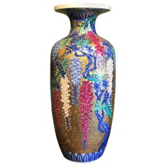 Large  Red Blue White Gold Porcelain Vase by Japanese Contemporary Master Artist