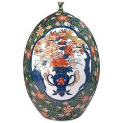 Japanese Large Imari Gilded Green Porcelain Vase by Contemporary Master Artist