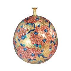 Japanese Large Imari Gilded Red Ceramic Decorative Vase by Master Artist