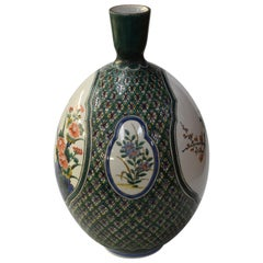 Japanese Contemporary Green Purple Porcelain Vase by Master Artist