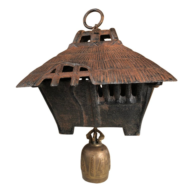 "Japanese Large Old ""Mountain Minka Cabin"" Lantern and Wind Chime For Sale"