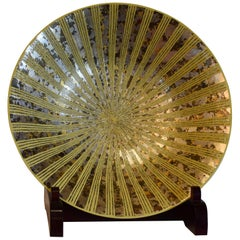 Japanese Large Yellow Platinum Gold Porcelain Vase by Master Artist