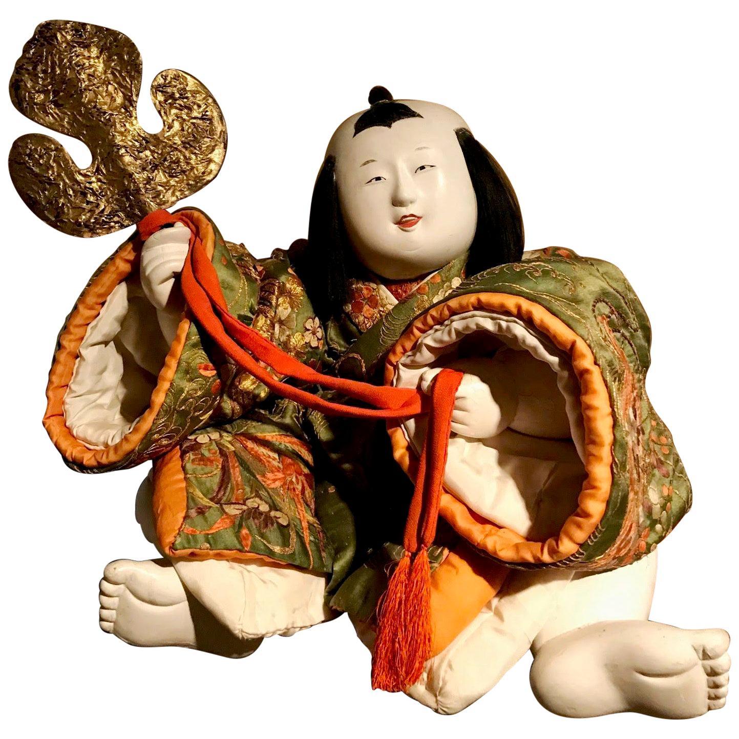 Japanese Late Edo Period Seated Imperial Gosho Ningyo Doll
