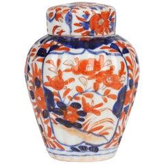 Japanese Late Meiji Imari Porcelain Lidded Tea Caddy