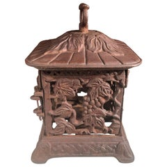 "Japanese Lovely Old ""GRAPES"" Flower Garden Lantern"