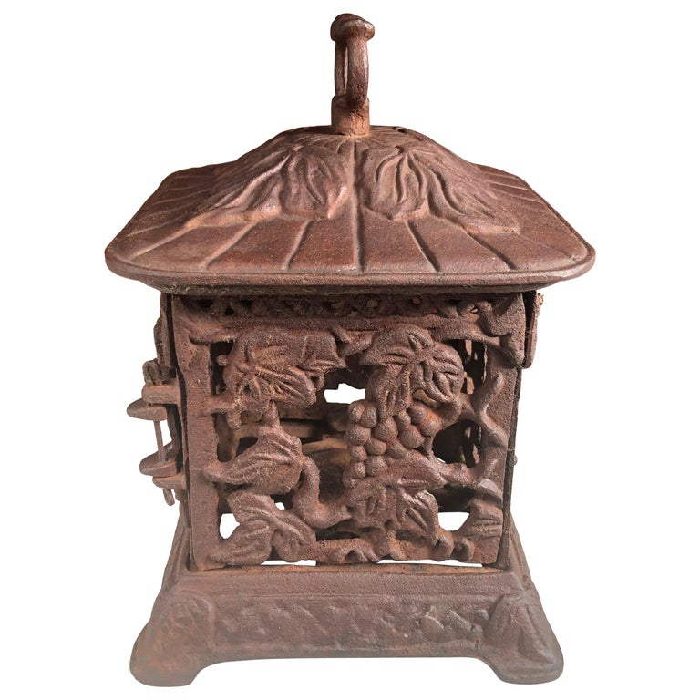 "Japanese Lovely Old ""GRAPES"" Flower Garden Lantern, Rare & First We've Seen For Sale"