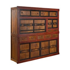 Japanese Meiji 1900s Kitchen Cabinet with Cinnabar, Black and Natural Patina