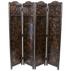 Japanese Meiji 4-Fold Screen Hand Painted Depicting Birds and Foliage