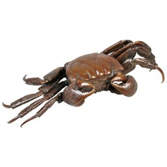 Japanese Meiji Articulated Bronze Crab