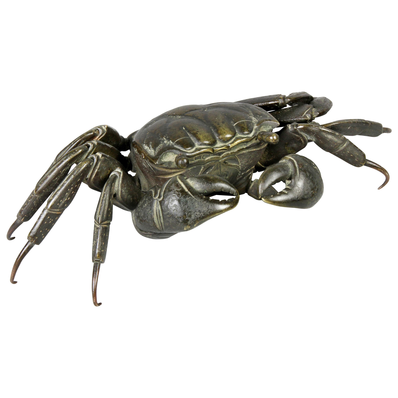 Japanese Meiji Articulated Bronze Crab