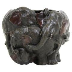 Japanese Meiji Bronze Elephant Planter / Vase