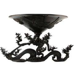 Japanese Meiji Bronze Ikebana Vessel on Sculpted Bronze Wave