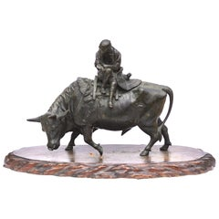 Japanese Meiji Bronze Ox and Samurai Genryusai Attributed