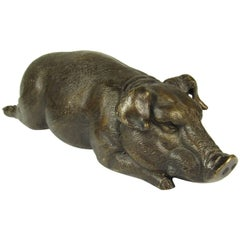 Japanese Meiji Bronze Sculpture of a Reclining Pig