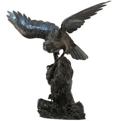 Japanese Meiji Bronze Sea-Hawk Sculpture