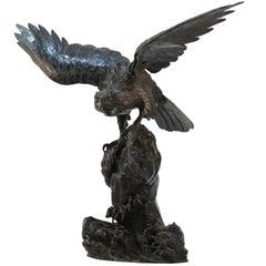 Japanese Meiji Bronze Sea-Hawk Sculpture