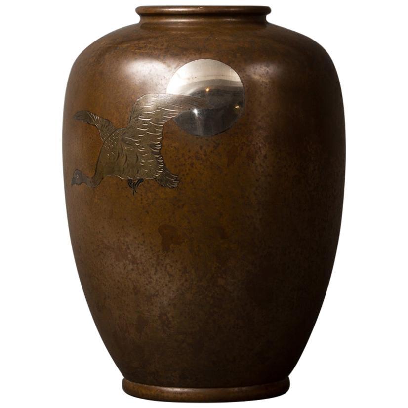 Japanese Meiji Bronze Takaoka Vase with Waterfowl and Moon Design