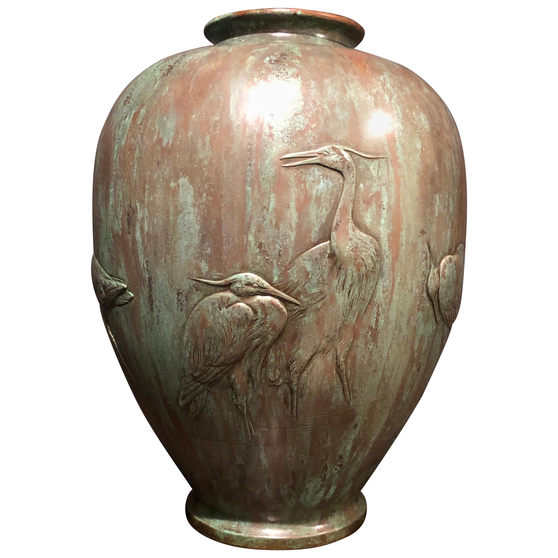 Japanese Meiji Bronze Vase with Cranes